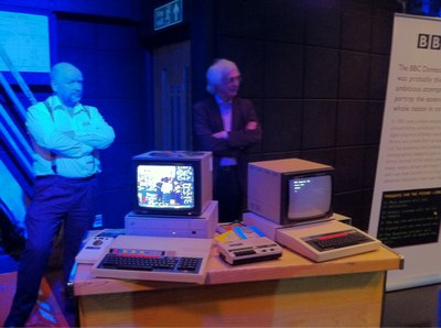 Richard Millwood and George Auckland revealing the original equipment and the kind of BBC micro used to send data to the BBC at the BBC Domesday Reloaded launch at the BBC 5th May 2011